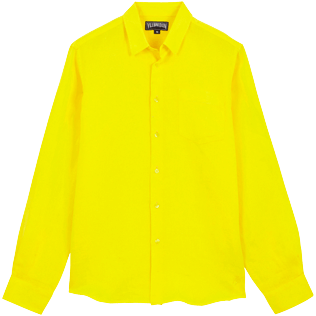 Men Others Solid - Men Linen Shirt Solid, Buttercup yellow front