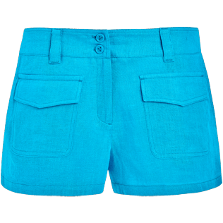 Women Others Solid - Women linen bermuda shorts solid - Vilebrequin x JCC+ - Limited Edition, Swimming pool front