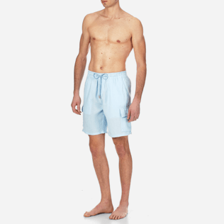 Men Others Solid - Men Cargo Linen Bermuda Shorts Solid, Sky blue frontworn