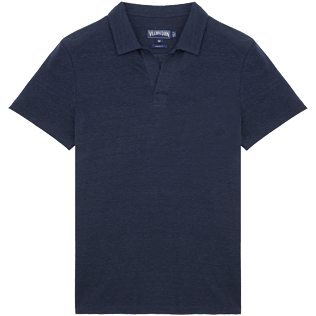 Men Others Solid - Solid Linen jersey polo, Navy front