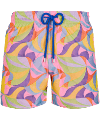 Men Classic Embroidered - Men Swim Trunks Embroidered 1984 Invisible Fish - Limited Edition, Pink polka front
