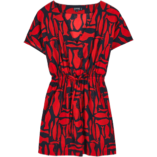 Women Dresses Printed - Silex Fishes Cover-up V Neck, Poppy red front