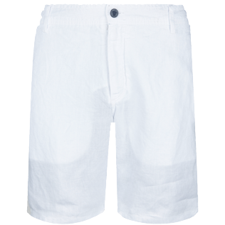 Men Others Solid - Men straight Linen Bermuda Shorts Solid, White front