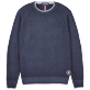 Men Others Solid - Men Wool Crewneck, Navy front