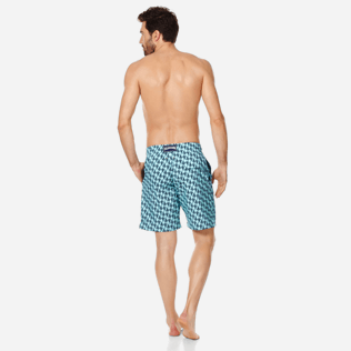 Homme CLASSIQUE LONG Imprimé - Maillot de Bain Homme Long Stretch Armor Turtles, Acqua backworn