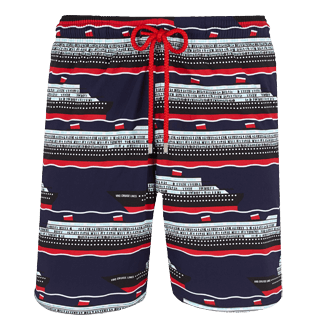 Men Long classic Printed - Men Swimtrunks Long Stretch VBQ Cruise Lines, Midnight blue front