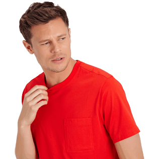 Men Others Solid - Men Pima Cotton Jersey T-shirt Solid, Poppy red supp1