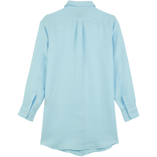 Women Others Solid - Women Linen Shirt Dress Solid, Sky blue back
