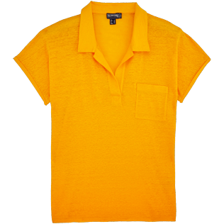Women Polos Solid - Solid Linen Jersey Polo, Turmeric front