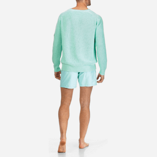 Men Others Solid - Men Cotton Linen Pullover Solid, Lagoon backworn