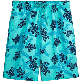 Men Long Printed - Starlettes & Turtles Long Cut Swim shorts, Lagoon front