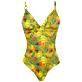 Women One piece Printed - Women Triangle One piece Swimsuit Go Bananas, Curry front