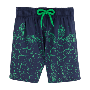 Boys Classic / Moorea Printed - Bubble Turtles Lightweight Packable Swim Shorts, Navy front