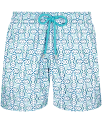 Men 017 Embroidered - Men Swimwear Embroidered Data Turtles - Limited Edition, Aloe front