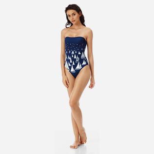 Women One piece Embroidered - Women bustier one piece swimsuit Porto Cervo, Navy supp3